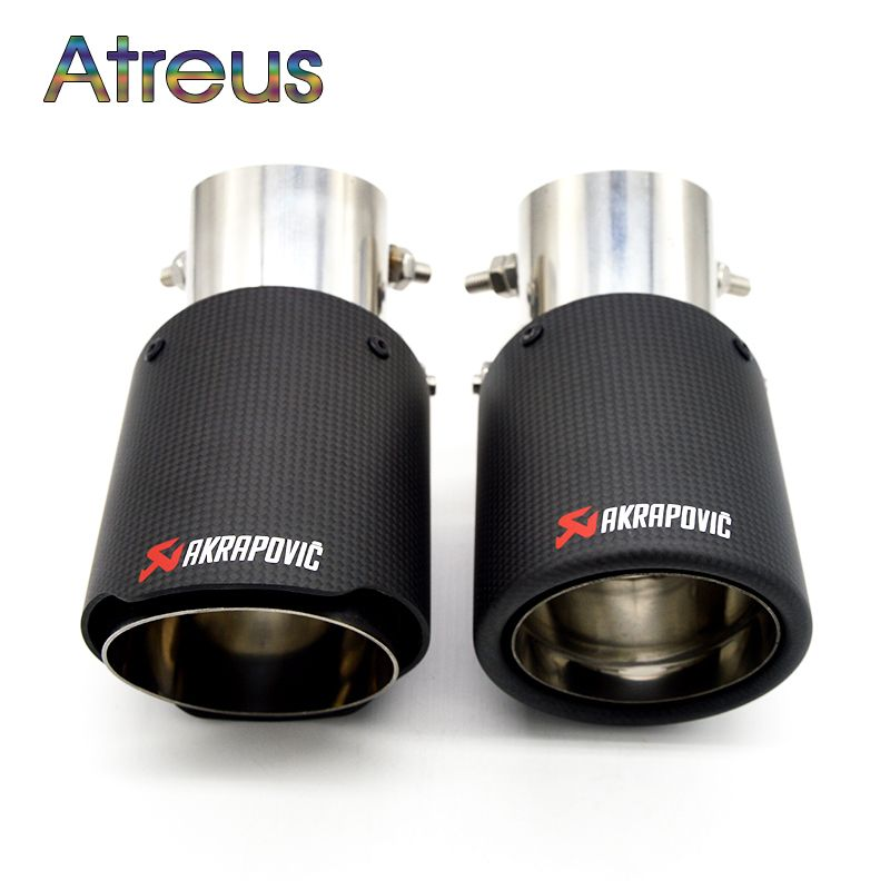 1PC Universal Akrapovic Tips Carbon Fiber Exhaust Pipe Modified For Ford Toyota Renault Opel Automobiles Car Styling Accessories