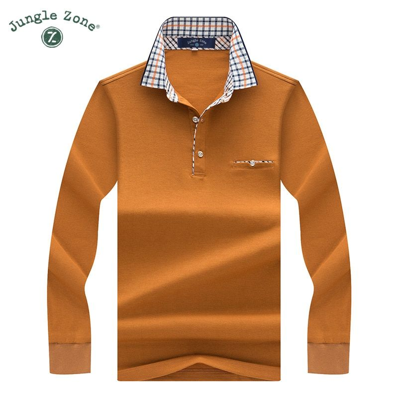 JUNGLE ZONE Winter Men's POLO men's business casual long-sleeved polo shirt Men's brand Plaid lapel solid color polos 8877