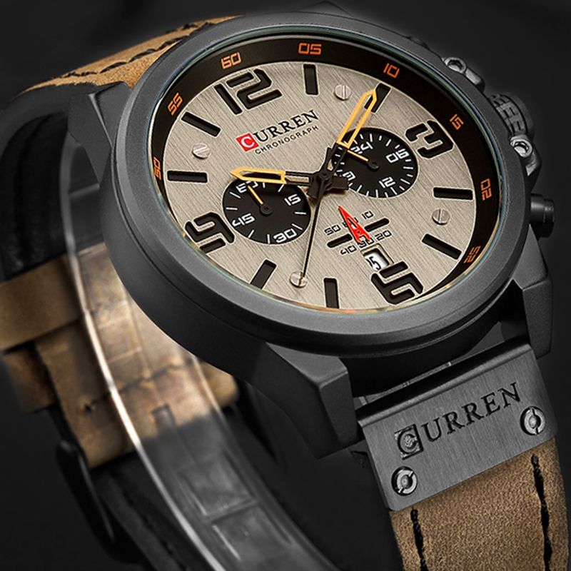 New 2018 Men Watch CURREN Top Brand Luxury Mens Quartz Wristwatches Male Leather Military Date Sport Watches Relogio Masculino