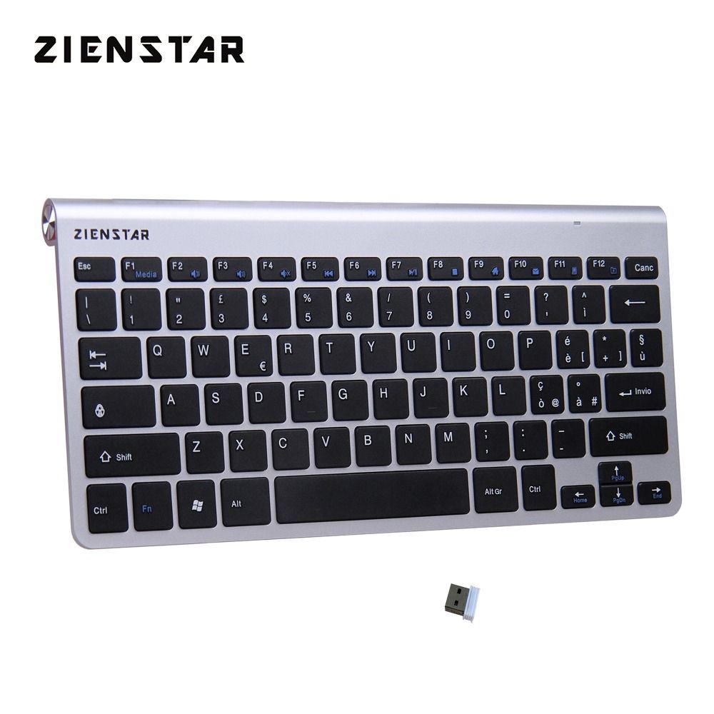 Zienstar Italian Language Ultra Slim 2.4G Wireless Keyboard for Macbook/PC Computer/Laptop / Smart TV with USB Receiver