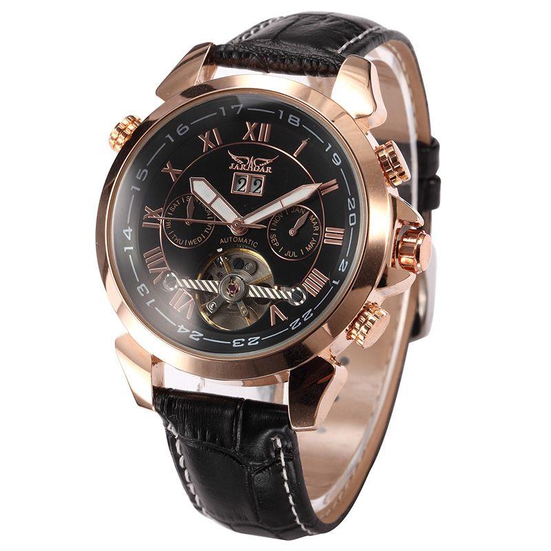 JARAGAR Men's Auto Mechanical Golden Case Flying Tourbillon Vogue Watch Relogio Masculino Male Wristwatch Montre Homme