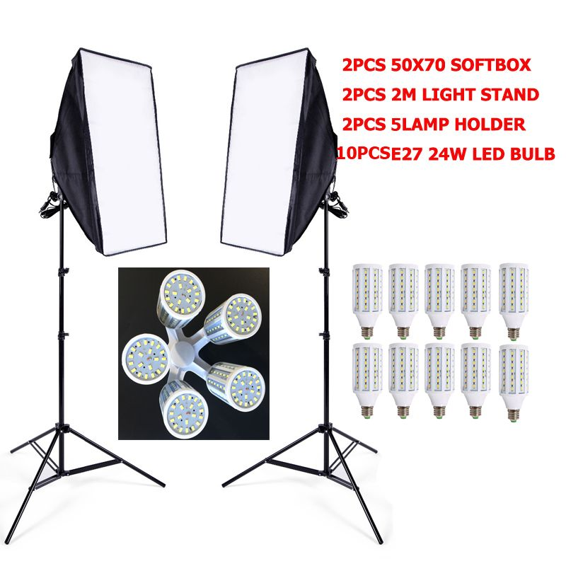 DHL free shipping 5 in 1 socket Soft Box set lighting softbox kit 10pcs 24W LED 2pcs softbox 2pcs light stand