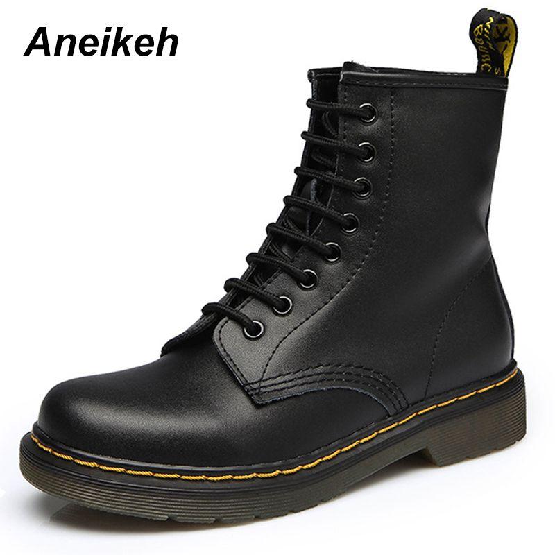 Aneikeh Femmes Cheville Bottes Chaussures Femme 2018 Printemps Automne En Cuir Véritable Lacent Chaussures Punk Plus La Taille 43 44 Équitation, equestr Bottes