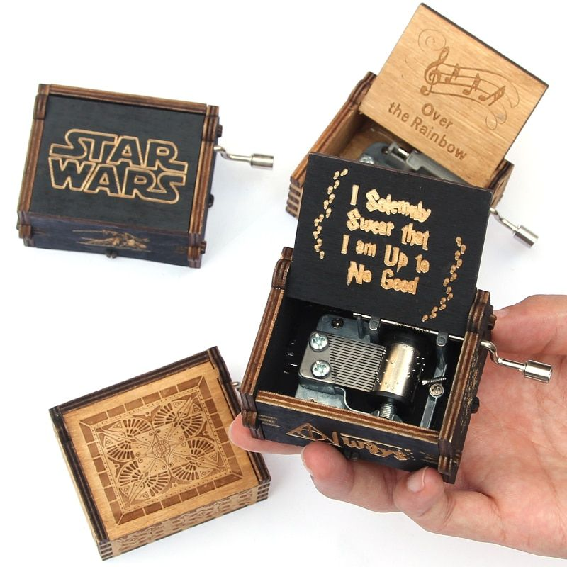 Antique Carved music box casket game of thrones Star Wars music box Wooden Hand Crank Theme caja musical gift box