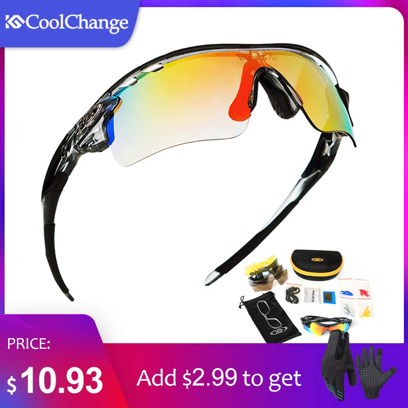 CoolChange Polarized Cycling Glasses <font><b>Bike</b></font> Outdoor Sports Bicycle Sunglasses For Men Women Goggles Eyewear 5 Lens Myopia Frame