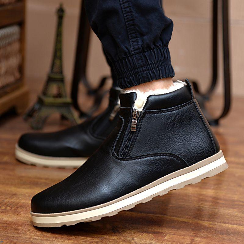 2017 Hombres de Invierno de Piel de Nieve Botas de Los Hombres Británicos de Espesor Caliente Cremalleras dobles Pisos de Algodón de Tobillo Botas de Los Hombres de Moda de Cuero de Lujo zapatos