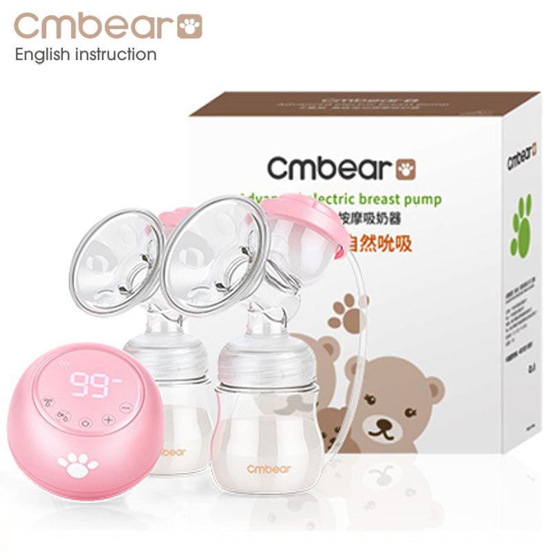 2018 Cmbear Doppel Elektrische Brust Pumpe Leistungsstarke Saug Neugeborenen Baby Brust Fütterung infantil USB brust pumpen mit zwei flaschen