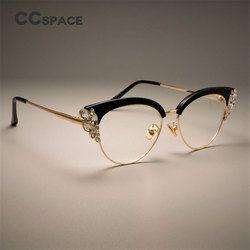 CCSPACE magnífico señoras gato ojo brillante Rhinestones gafas marcos para las mujeres marca diseñador gafas ópticas 45120