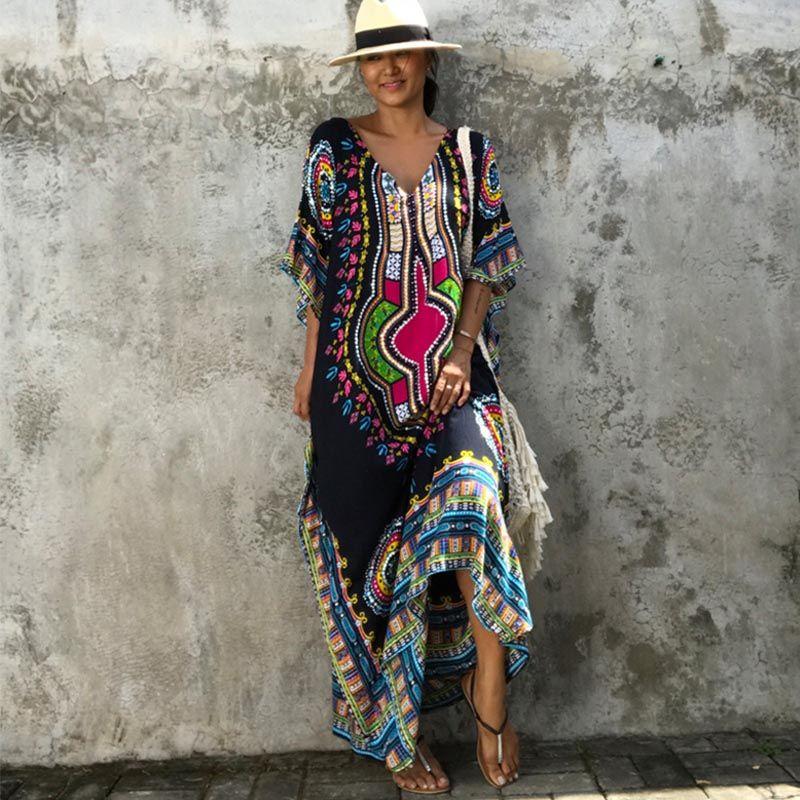 Caftan africain tunique noire robes pour femmes Robe Dashiki été ethnique traditionnel africain vêtements longue Robe Maxi Robe