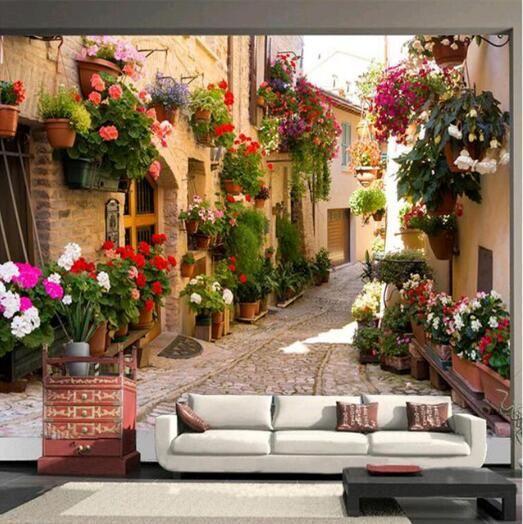 Papier peint photo paysage méditerranéen Continental architecture chambre salon TV peinture murale papier peint