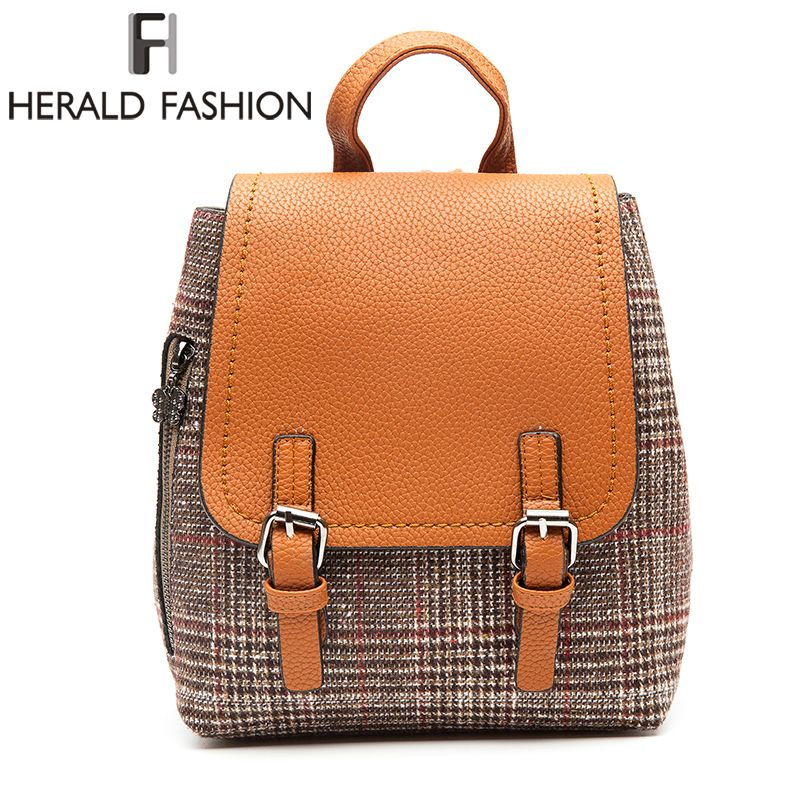 Herald Fashion Female Woolen Backpacks For Teenage Girls Women <font><b>Pack</b></font> Bags Female School Shoulder Bag Traveling Backpacks Mochila
