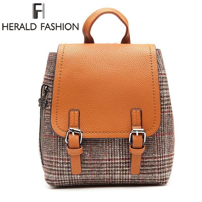 Herald Fashion Female Woolen <font><b>Backpacks</b></font> For Teenage Girls Women Pack Bags Female School Shoulder Bag Traveling <font><b>Backpacks</b></font> Mochila