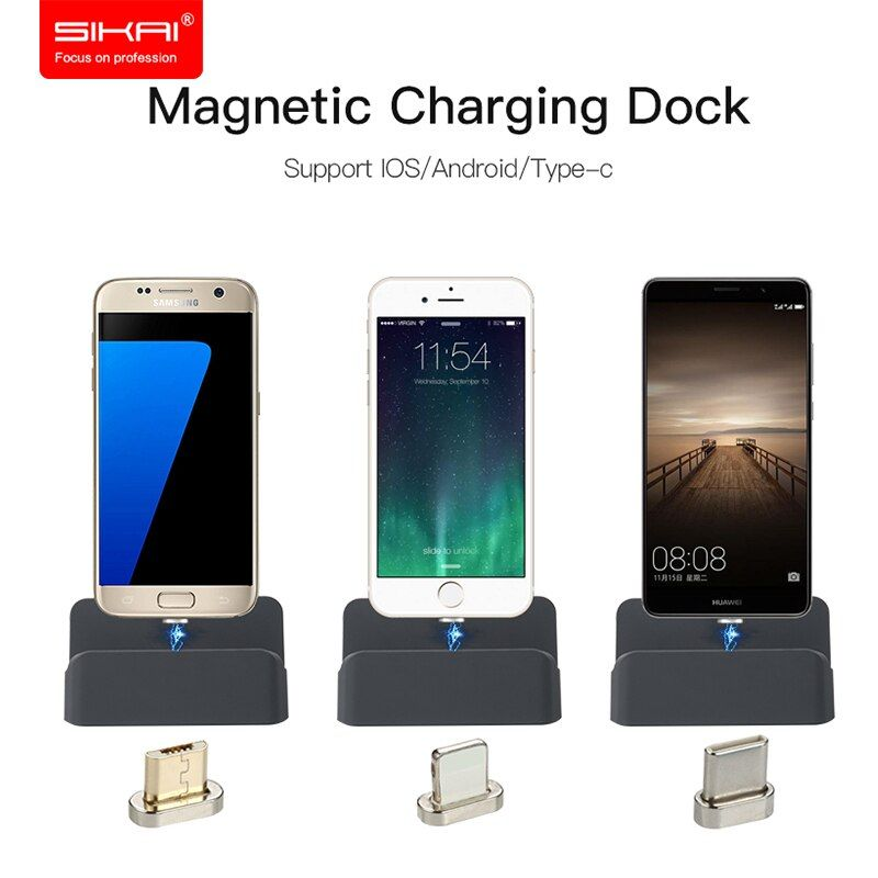 SIKAI 3 in 1 Type-C Android ISO Magnetic Charging Dock Station Type C Micro USB Cable Magnet Charger Stand Cradle For iPhone 8