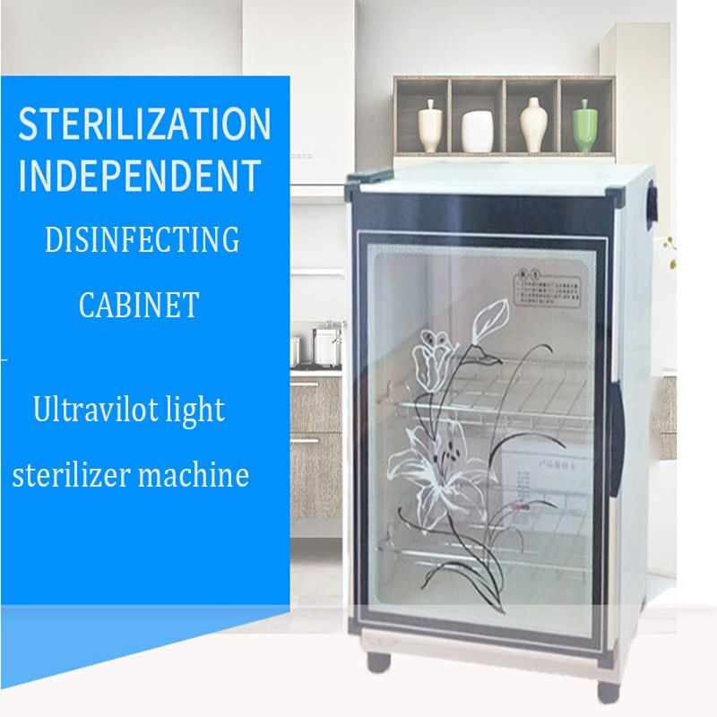 Home Mini Electric Ultraviolet Light Sterilizer Vertical Tableware Disinfecting Cabinet 68L Cupboard Tea Tableware Disinfector