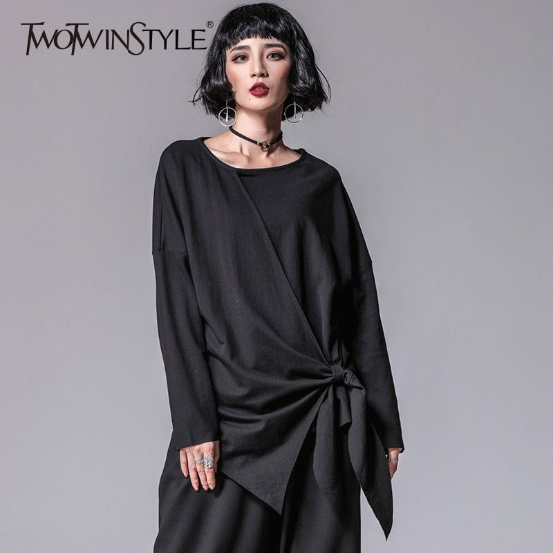 TWOTWINSTYLE Lace Up T Shirt Female Irregular Patchwork O Neck Long Sleeve Black Pullover Tops 2018 Spring Tide Clothing