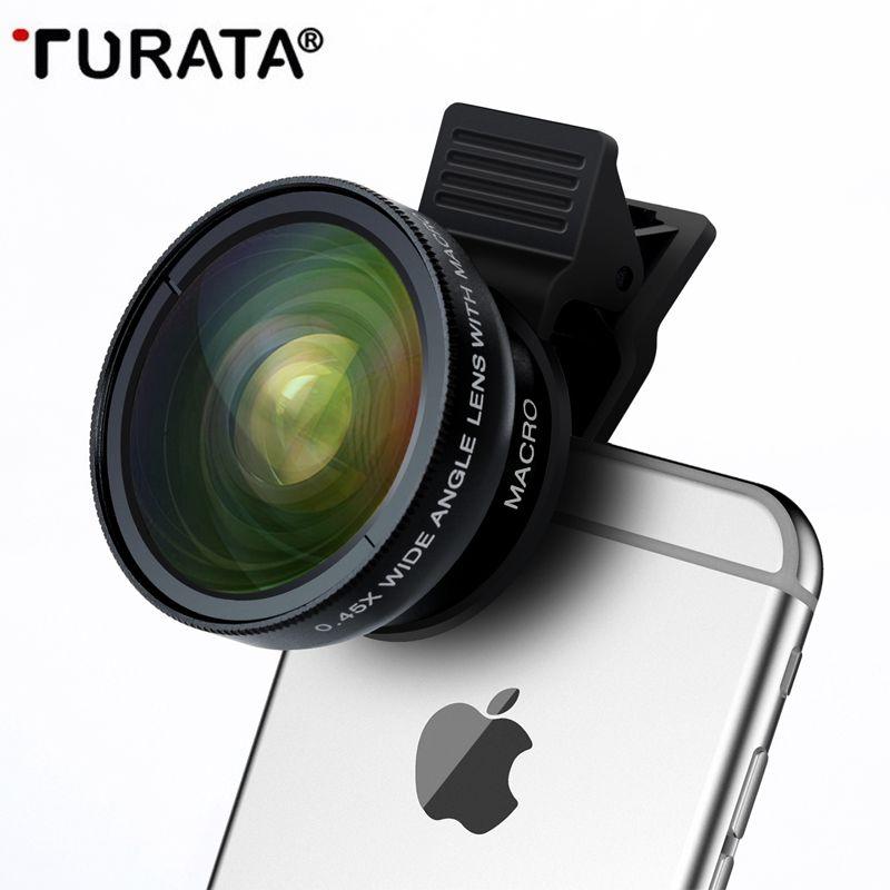 Turata Téléphone Lentille, 2 en 1 HD Caméra Fisheye Lentille [0.45X Grand Angle + 12,5X Macro] Clip-on Kit Objectif Pour iPhone 5 5S SE 6 6 S 7