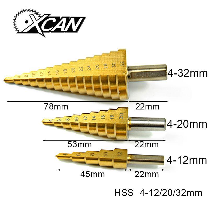3 Pcs Métrique Spirale Flûte La Pagode Forme Trou Cutter 4-12/20/32mm HSS En Acier Cone Drill Bit Set HSS Acier Étape Affûtage