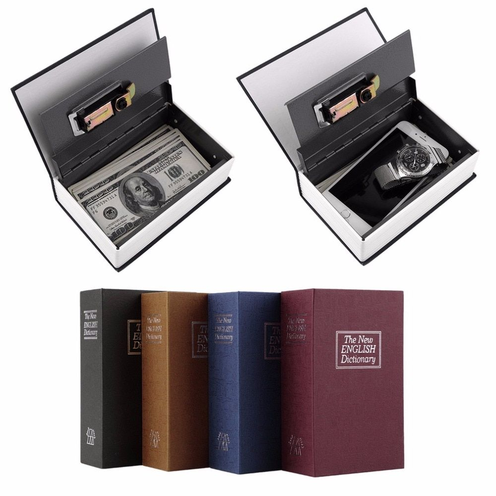 LESHP Modern Simulation Dictionary Secret Book Hidden Security Safety Lock Cash Money Jewelry Cabinet Size Book Case Storage Box