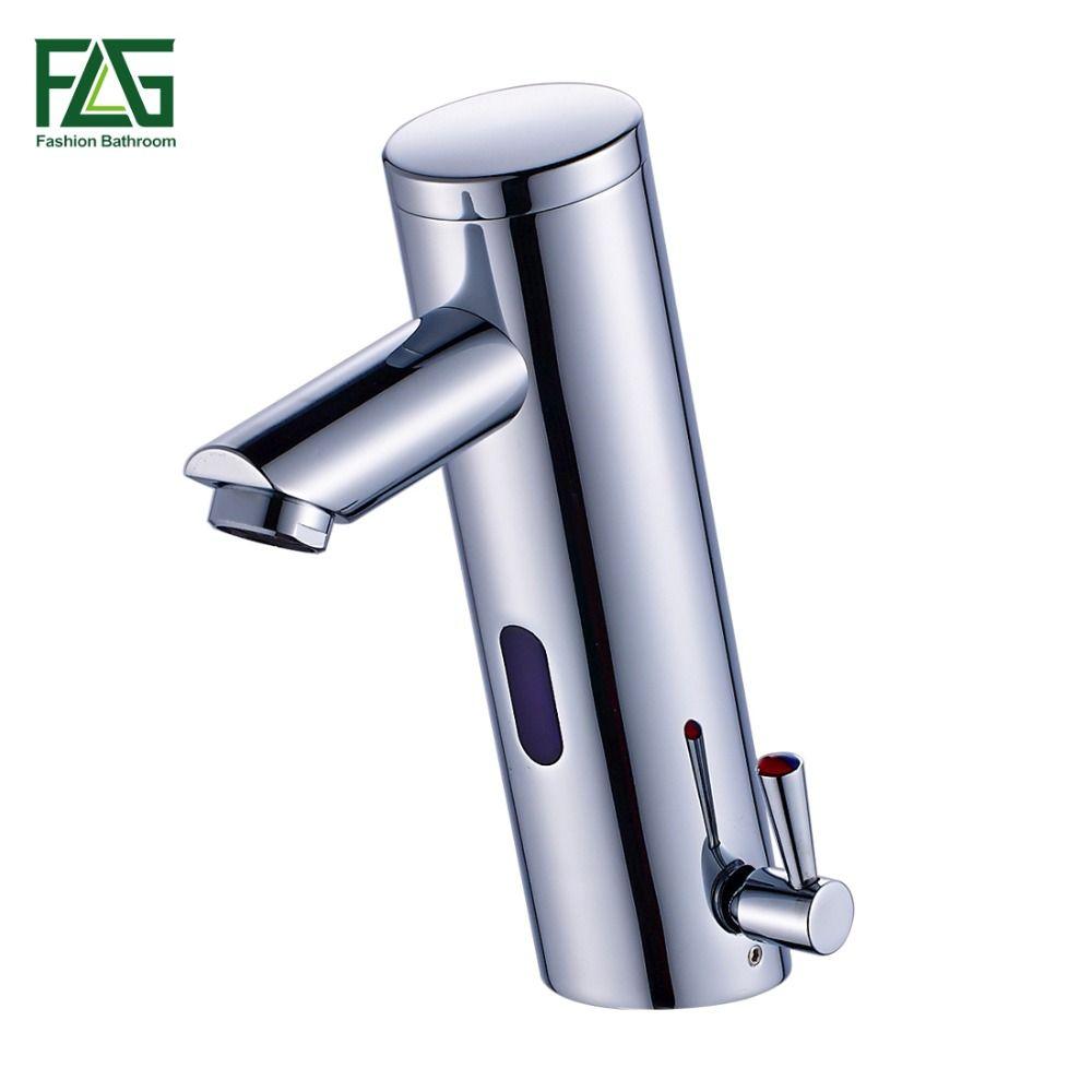 FLG New Hot <font><b>Cold</b></font> Mixer Automatic Hand Touch Tap Hot <font><b>Cold</b></font> Mixer Battery Power Free Sensor Faucet Bathroom Sink Basin Faucets 8902
