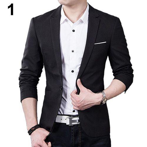 Männer Nehmen Blazer Formalen Anzug Eine Taste Revers Langarm Taschen Top