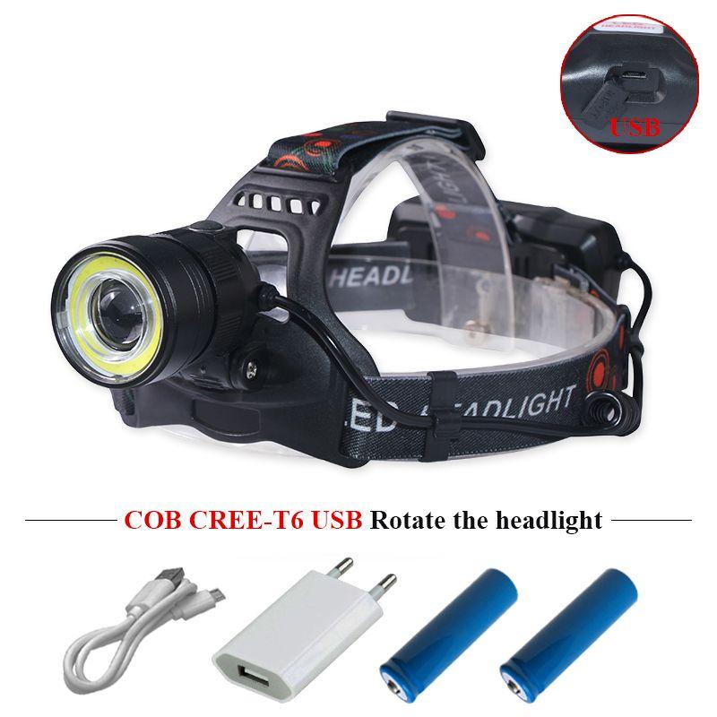 usb led headlamp headlight led cree xml t6 cob head torch flashlight head light super <font><b>bright</b></font> waterproof headtorch head lamp