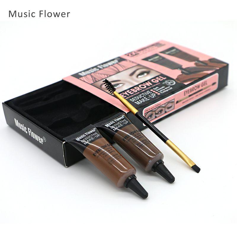Music flower 2 farbe augenbrauen enhancers seductive wasserdichte augenbraue Gel Mit Doppel End Pinsel Langlebige Augen Make-Up Set Kit