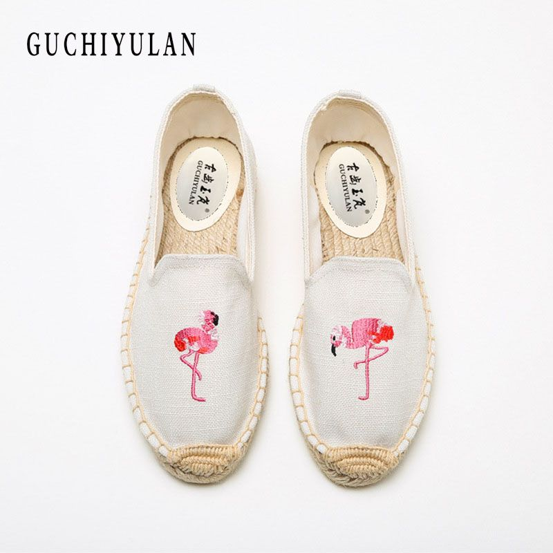 GUCHIYULAN New print Canvas Espadrilles For Women Fashion Slip-on Casual Unisex Espadrilles Women Casual Flat Shoes Plus Size
