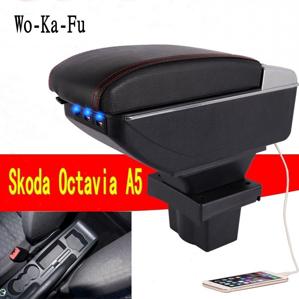 Pour Skoda Yeti Octavia A5 accoudoir boîte centrale magasin contenu boîte mallette de rangement USB interface accessoires de décoration 2008-2010
