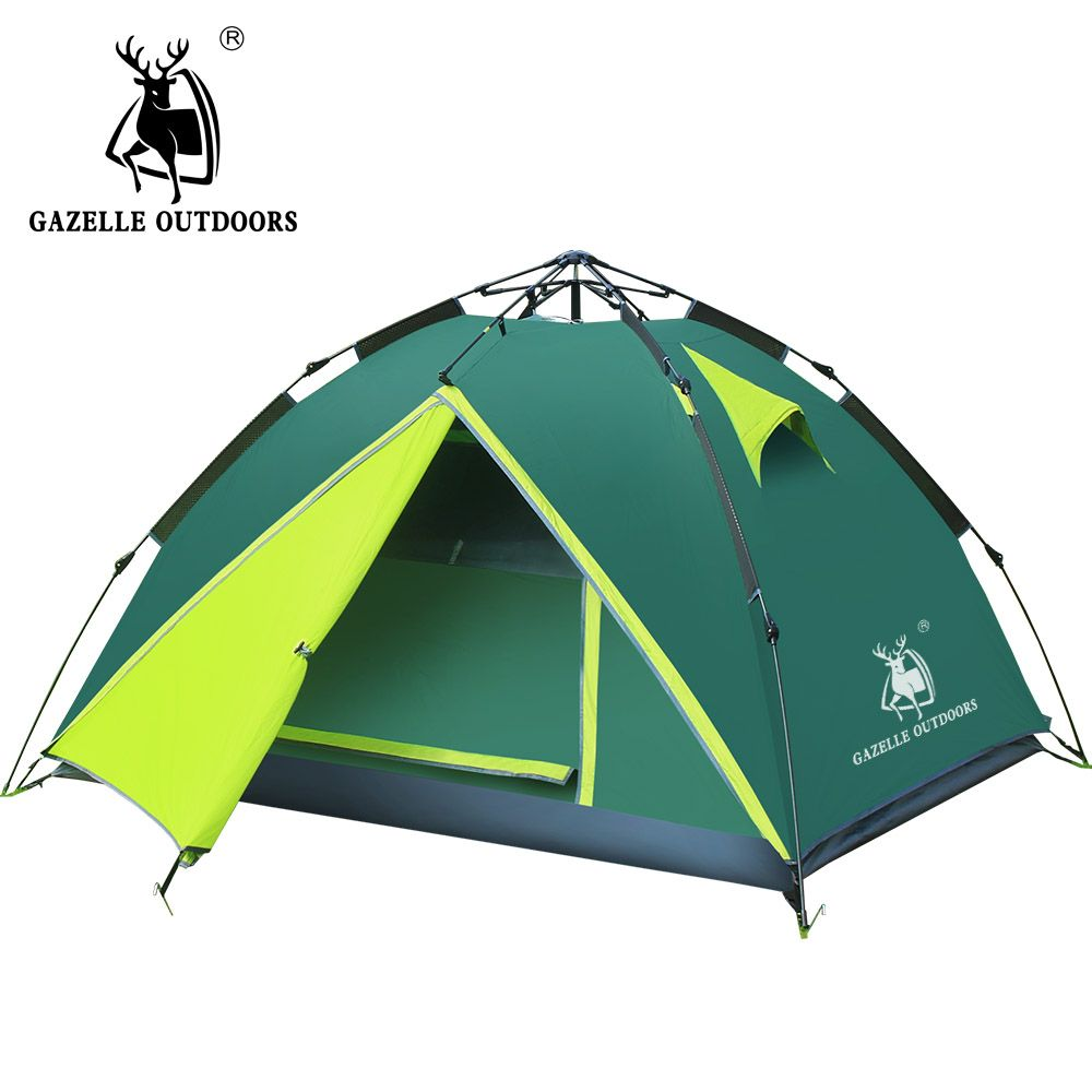 GAZELLE 3-4 person camping tent Waterproof Double Layer hiking large family tents High Mountain Outdoor Hydraulic Tent