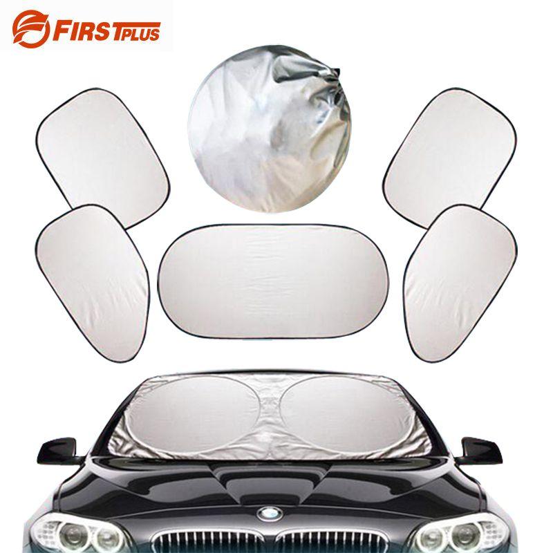 Silver Auto Sun Visor Car Front Rear Windshield Side Window Blinds Sucker Mount Sunshade Curtain Car Styling Covers