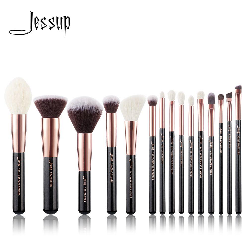 Jessup pinceaux or Rose/noir pinceaux de maquillage professionnels maquillage ensemble de pinceaux cosmétiques fond de teint poudre définisseur Shader Liner