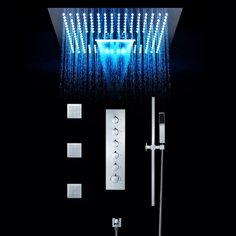 Luxus Bad Dusche Wasserhahn Set 16 Zoll Regen Duschen LED Licht Eingebettet Decke Thermostat Ventil Wasserfall Showerhead Nebligen