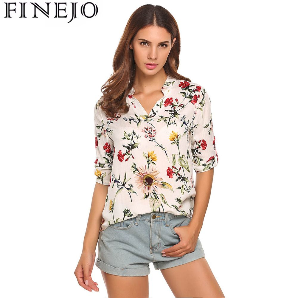 FINEJO Women Floral Printed Vintage Cotton Blouses Shirts 3/4 Sleeve Femme Blouse Fashion Ladies Lady Tee Shirts For Woman Tops