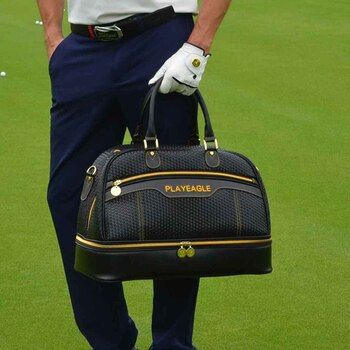 2018 Large Capacity PU Leather Golf Boston Bag Black Color Golf Clothing Bag with Separate Golf Shoes Bag Embroidery Logo