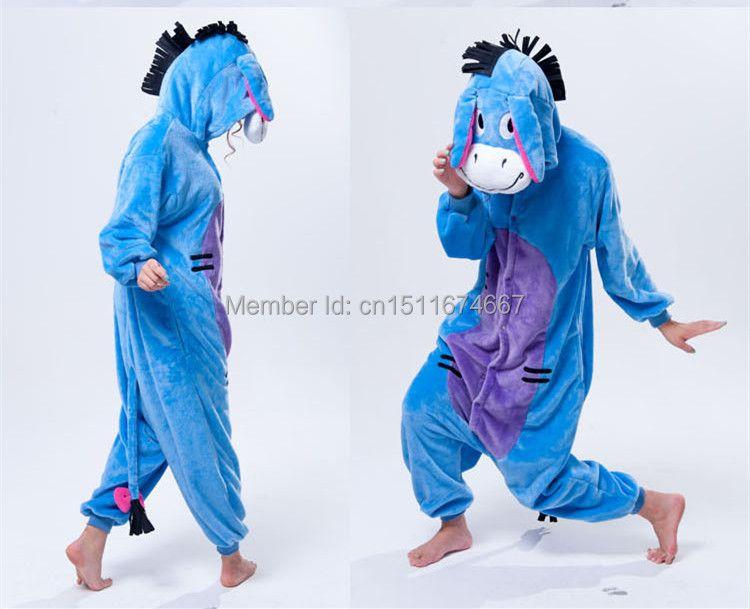 Flanelle douce bande dessinée Anime animaux Onesies pyjama bourriquet âne Costume pour adultes Halloween carnaval fête vêtements