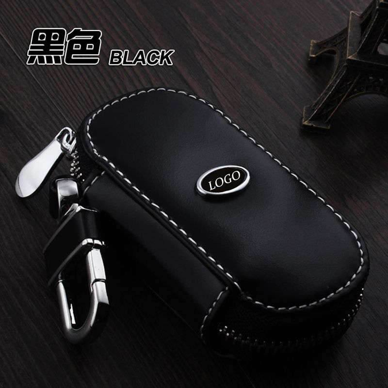 Leather Car Keychain Key Fob Case Cover For Ford Focus Fiesta Kuga Fusion Mondeo Ecosport Explorer Escort Key Holder Ring