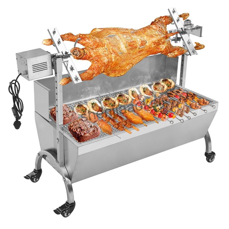 Stainless Steel BBQ Grill Charcoal Pig Spit Roaster Rotisserie Barbeque machine Multifunctional Electric barbecue grill