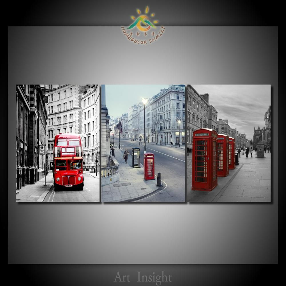 HD Printed Red Bus & telephone booth 3 Pieces/set Modern Wall Art Print Canvas Printed Painting Home Wall Pictures Framelesss