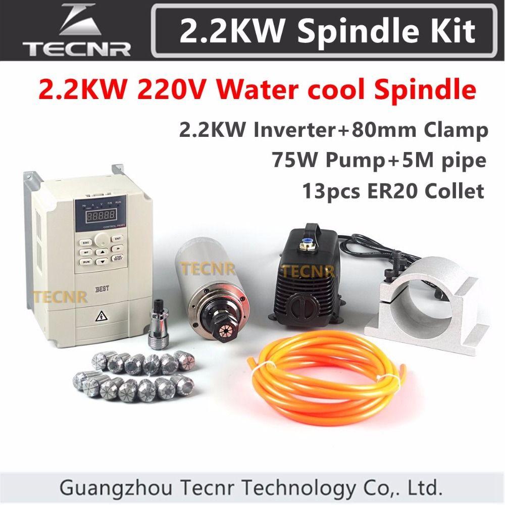 2.2kw Spindel Kit 220 v CNC Wassergekühlte Frässpindel Motor + kw Wechselrichter + 80mm Clamp + 75 watt Wasserpumpe + 5 mt Rohre + 13 stücke ER20