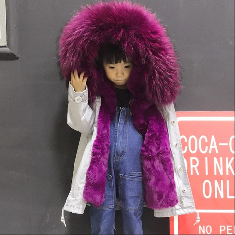 2018 autumn and winter new children's natural Rex rabbit fur liner boys girls braid fur fur collar thickening fur jacket