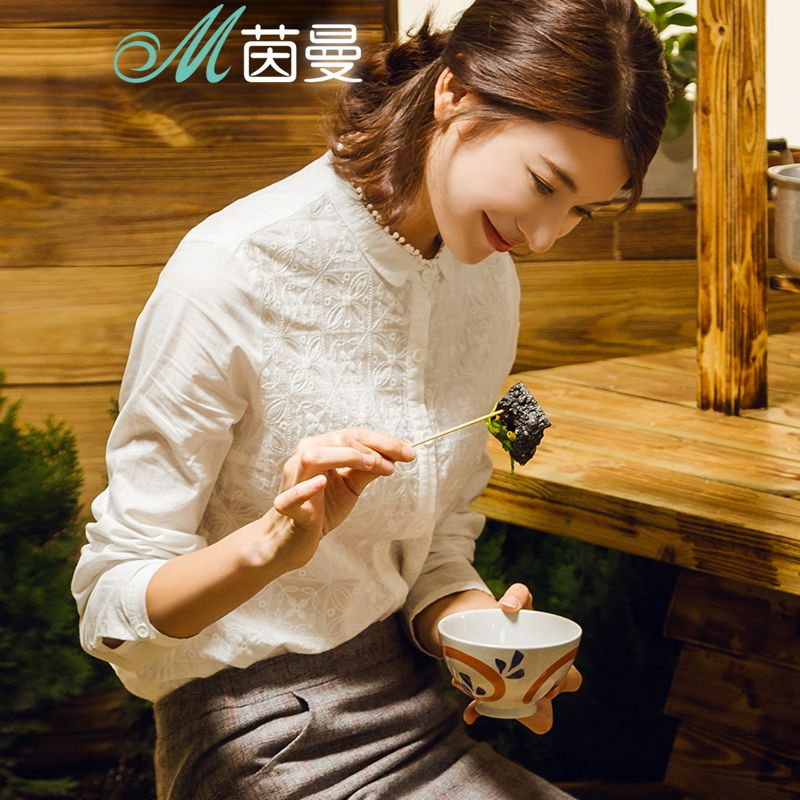 INMAN Women New Delicate Embroidered Stand Collar Cotton Shirt Long Sleeves White Bottoming Shirt