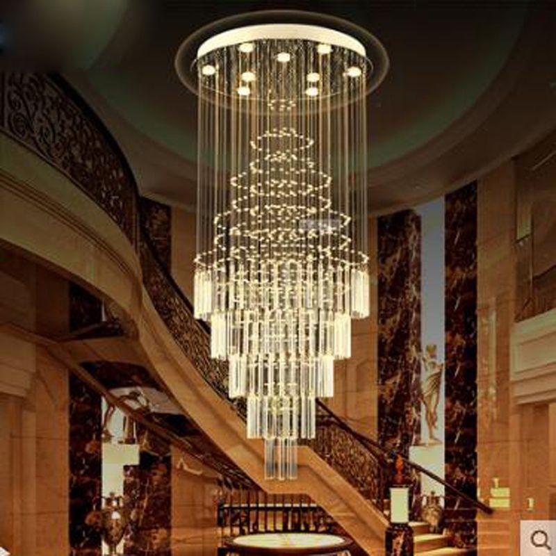 Doppeltreppe kronleuchter wendeltreppe lampe Lange kronleuchter Villa treppen kristall-kronleuchter meteorschauer wohnzimmer LED