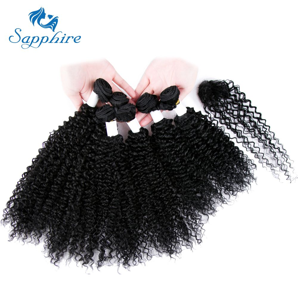 Sapphire Remy Hair Peruvian Kinky Curly Hair With Closure 6 Bundles Human Hair Weave with Lace Closure 30g/Pcs For Hair Salon