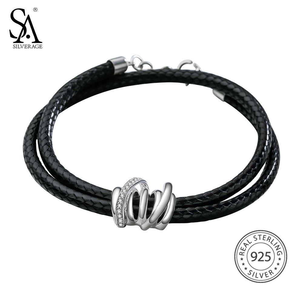 SA SILVERAGE 925 Sterling Silver Wrap Bracelets Bangles for Women Black Two Layer 925 Silver Wrap Bracelet