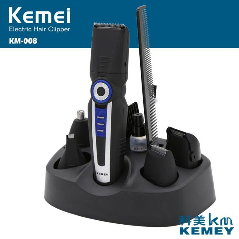 Kemei 6 in 1 Electric Hair Trimmer For Men 6 Blades Haircut Machine Rechargeable Beard Shaver Nose Trimmers Hair Clipper