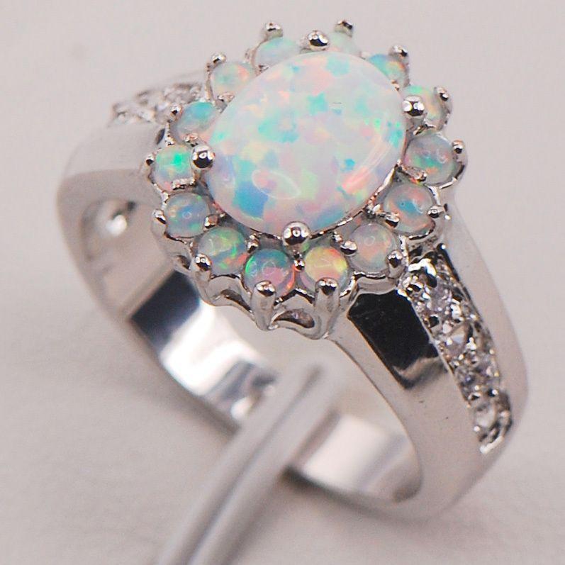 Opale de feu blanche australie 925 bijoux en argent Sterling femme taille de bague 6 7 8 9 10 11 F578