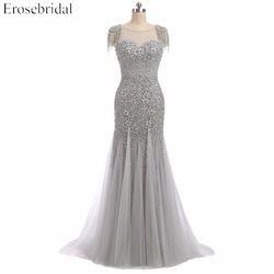 Erosebridal Grau Perlen Meerjungfrau Abendkleid Sheer Neck Elegante Lange Perlen Prom Kleider U Zurück Hals Design Tropfen Verschiffen