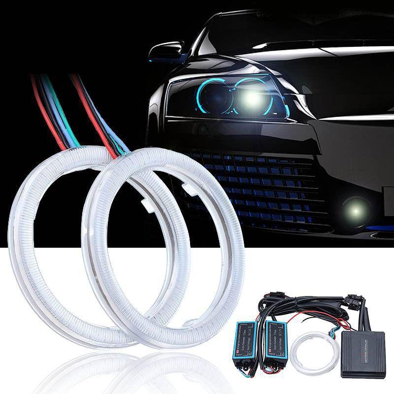 2pcs Multicolor RGB 70MM Car COB LED Angel Eye Lights Auto Halo Ring APP Phone Control Headlight DC12V-24V