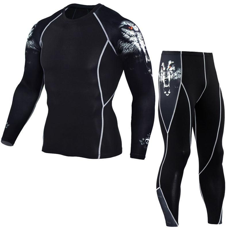 Chemise homme 3D pantalon ado pantalon manche longue ensemble T-Shirt homme Lycra MMA Crossfit T-Shirt collant vetement
