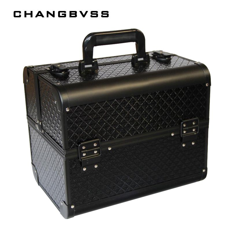 Big Size Black Makeup Organizer,Cosmetic Jewelry Box,Make Up Cosmetic Storage Boxes Handbag Holder,Travel Makeup Suitcase Gifts